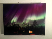 $60 sale from $90 11x14 northern lights  with remote cabin.  True Alaska!